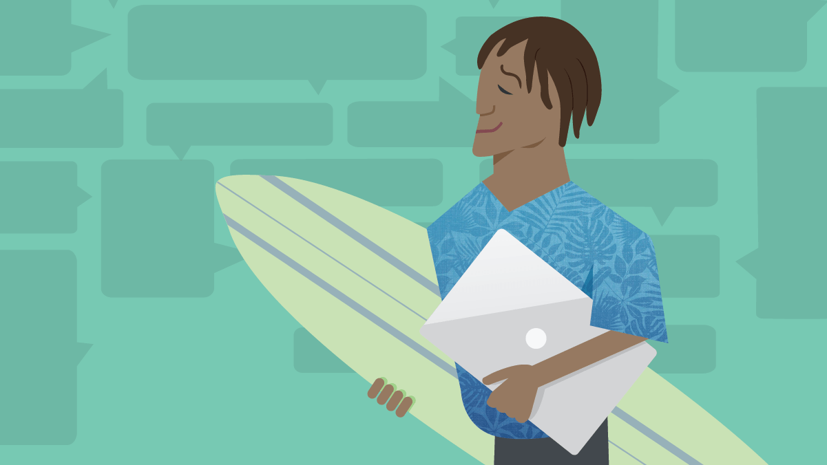 A man holding a laptop and surf board goes with the flow