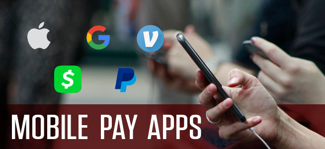 Phone in hand with the logos of mobile pay apps floating off to the side