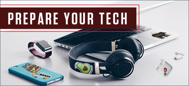 various pieces of tech covered in stickers including a laptop, cell phone, over the ear headphones, airpods, and an Apple Watch