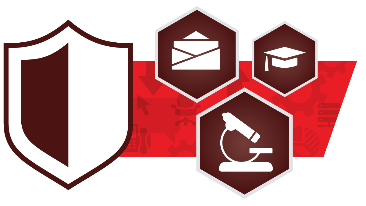 A maroon shield surrounded by icons including a microscopy, a graduation cap, and an email